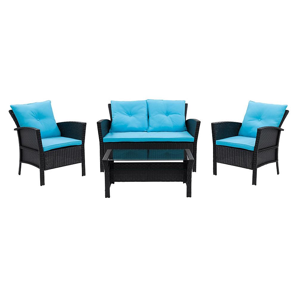 Salon de jardin avec coussins bleu Cascade, rotin de résine, noir, 4 pièces