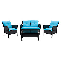 Corliving Cascade 4-Piece Resin Rattan Wicker Patio Set in Black with Blue Cushions