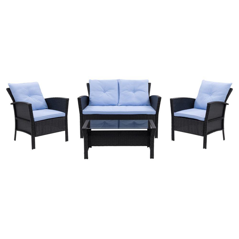 Corliving Cascade 4-Piece Black Resin Rattan Wicker Patio Set with Light Blue Cushions