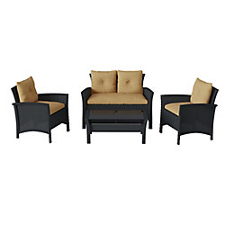 Corliving Cascade 4-Piece Black Resin Rattan Wicker Patio Set with Light Brown Cushions