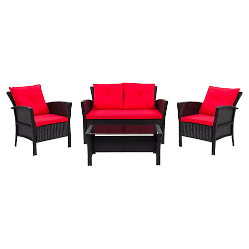 Cascade 4-Piece Resin Rattan Wicker Patio Set in Black with Red Cushions