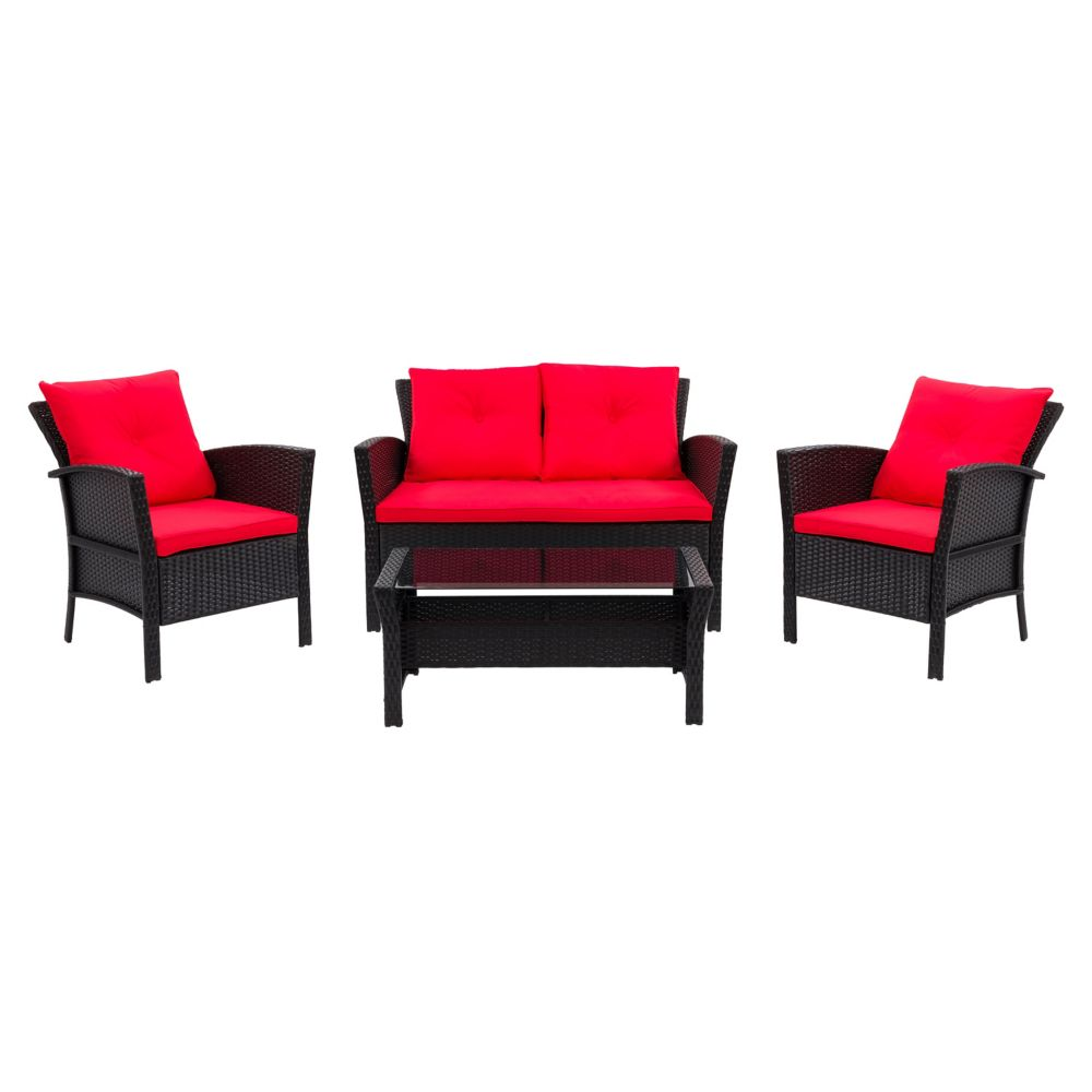 Corliving Cascade 4-Piece Resin Rattan Wicker Patio Set in Black with Red Cushions