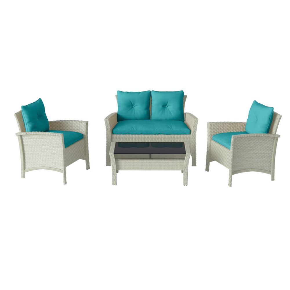 Corliving Cascade 4-Piece Distressed Grey Resin Rattan Wicker Patio Set with Blue Cushions