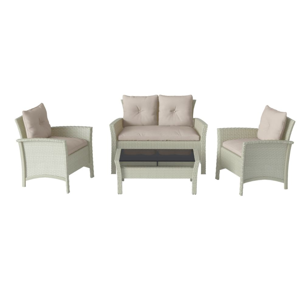 Corliving Cascade 4-Piece Distressed Grey Resin Rattan Wicker Patio Set with Warm White Cushions