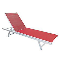 Corliving Gallant Weather Resistant Coral Red Mesh Reclining Patio Lounger
