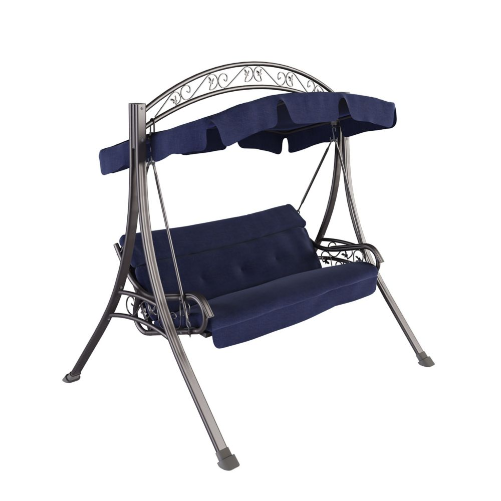 Corliving Nantucket Patio Swing with Arched Canopy in Navy Blue