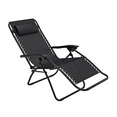 Chaise longue texturée Riverside zéro gravité noire