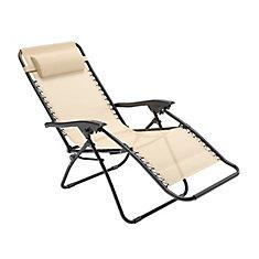 Chaise longue texturée Riverside zéro gravité crème