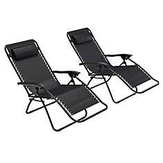 Chaise longue texturée Riverside zéro gravité noire, ensemble de 2