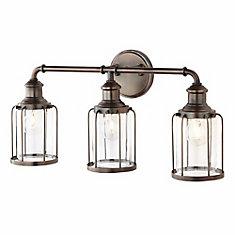 Applique 11.8 pouce 3 lumières en verre clair, fini bronze satiné