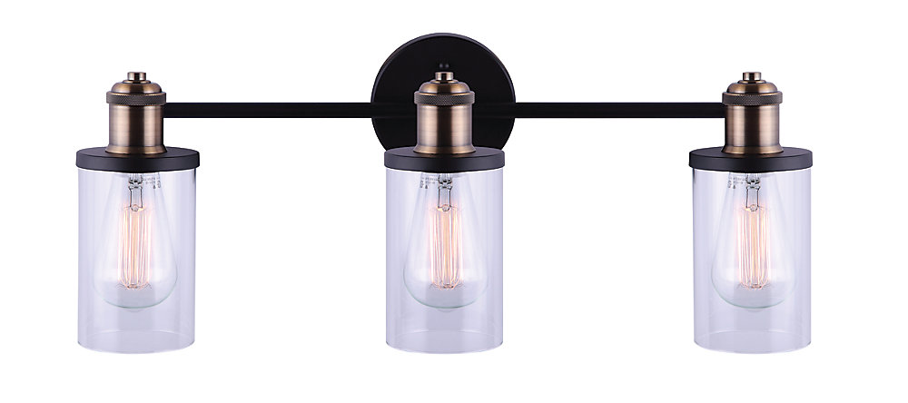 new style e6375 d47de Home Decorators Collection TOBIAS 3-Light 60W Matte Black ...