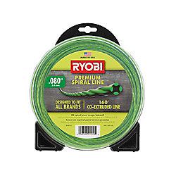 RYOBI 0,080 pouce x 160 pi. Ligne de coupe à essence et sans fil spirale de qualité supérieure