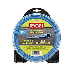 RYOBI 0,065 pouce x 200 pi (0,065 po x 200 pi) Ligne de taille-bordures à fils spiralés et sans fil pour travaux lourds