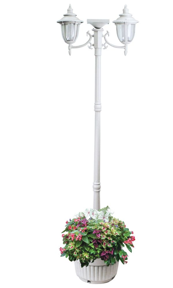 Sun Ray Hannah Two Head Solar Lamp Post And Planter White
