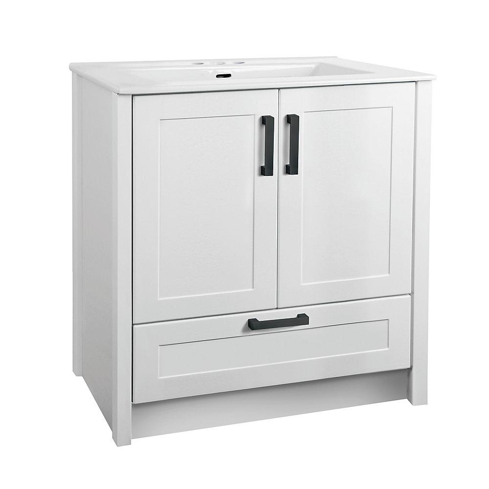 Dansey 30-inch 2 Door with Drawer Vanity with Rectangular White Basin