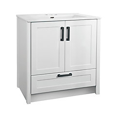 Meuble-lavabo à 2portes Dansey avec tiroir et lavabo rectangulaire blanc, 30po