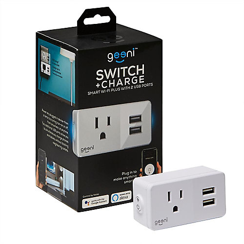 SWITCH + CHARGE 10 amp 2 USB Ports Smart Wi-Fi Plug in White