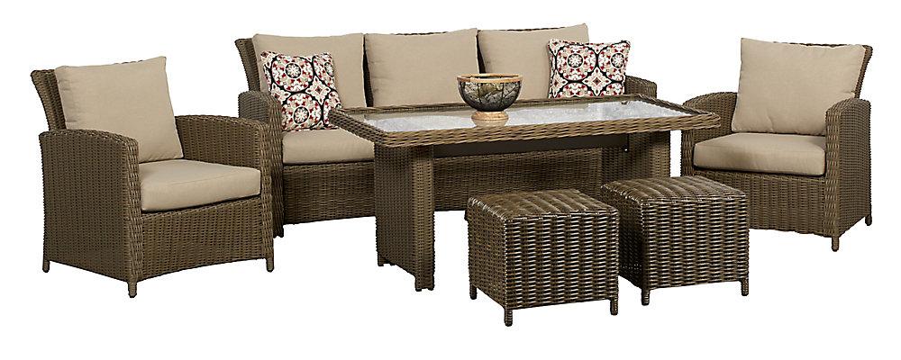 Salon de jardin avec table haute Oakmont, 6 pièces