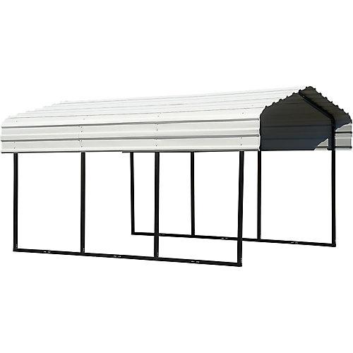 Steel Carport 10 x 15 x 7 ft. Galvanized Black/Eggshell