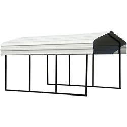 Arrow Steel Carport 10 x 15 x 7 ft. Galvanized Black/Eggshell