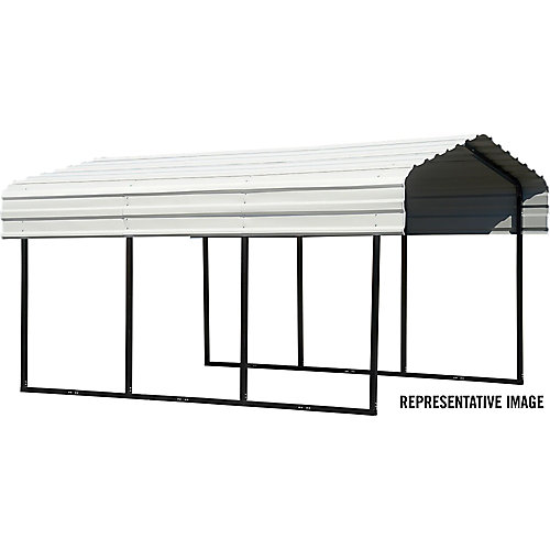 Steel Carport 10 x 20 x 7 ft. Galvanized Black/Eggshell