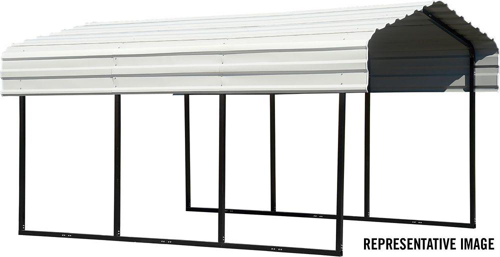 Arrow Steel Carport 10 x 20 x 7 ft. Galvanized Black/Eggshell