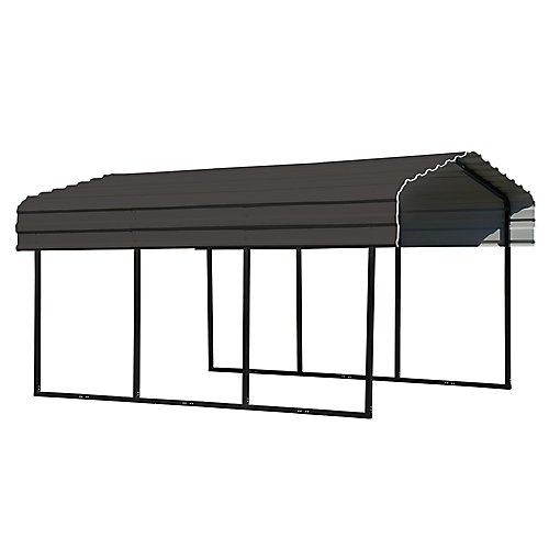 Steel Carport 10 x 15 x 7 ft. Galvanized Black/Charcoal