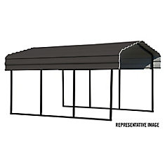 Steel Carport 10 x 20 x 7 ft. Galvanized Black/Charcoal