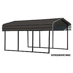 Arrow Steel Carport 10 x 29 x 7 ft. Galvanized Black/Charcoal