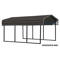 Arrow Steel Carport 10 x 29 x 7 ft. Galvanized Black/Charcoal