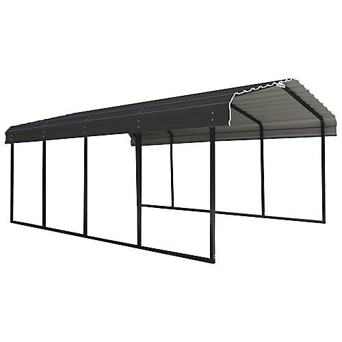 Steel Carport 12 x 20 x 7 ft. Galvanized Black/Charcoal