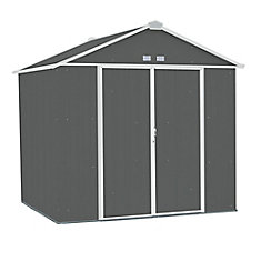 EZEE Shed Steel Storage 8 x 7 ft. Galvanized High Gable Charcoal with Cream Trim