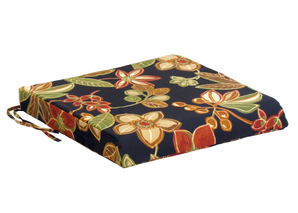 Bozanto Inc. Seat Cushion black and red floral