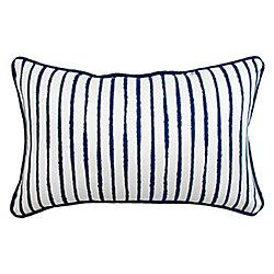 Bozanto Inc. Coussin Rectangulaire blanc solid avec raye bleu