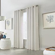Versant rideau à illets occultant tressé en faux lin tissé 132 cm x 241 cm couleur blanc cassé