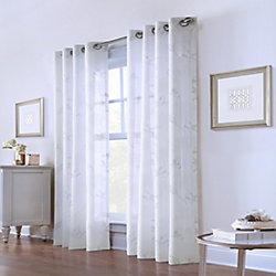 Home Decorators Collection Painted Garden Sheer Grommet Curtain 52 inches width X 95 inches length, White