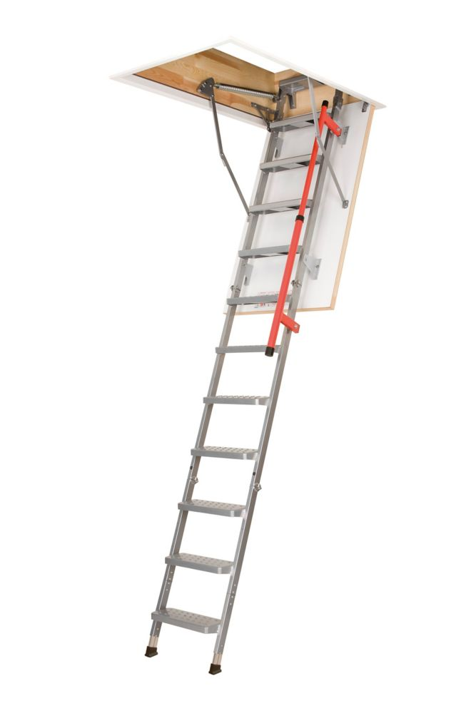Fakro Attic Ladder (Metal Insulated Piston-Assisted with Handrail) LML 23 1/2x47 300lbs 9ft 2 3/4in