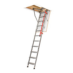 Fakro Attic Ladder (Metal Insulated Piston-Assisted with Handrail) LML 27X47  300lbs  9ft 2 3/4in