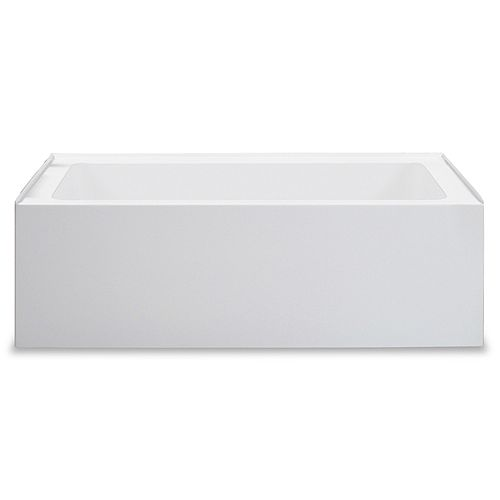 Jade Bath Zen Builder 60 inch White Alcove Tub Rightt Drain with Tile Flange and Integrated Skirt