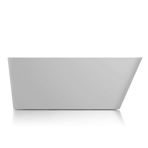 Jade Bath Missouri 67 inch Seamless 1-Piece White Freestanding Tub with Ledge for Deck-Mounted Faucet