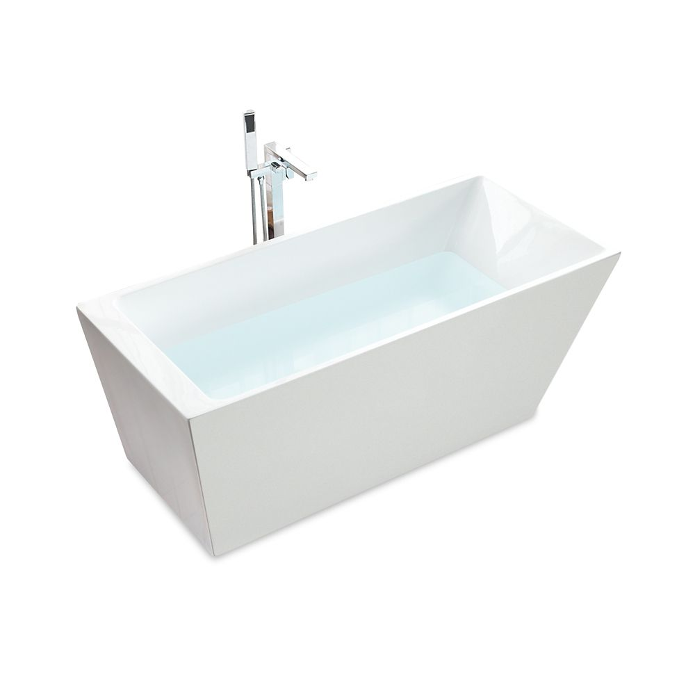 Jade Bath Oregon 67 inch Seamless 1-Piece White Freestanding Tub with Ledge for Deck-Mounted Faucet