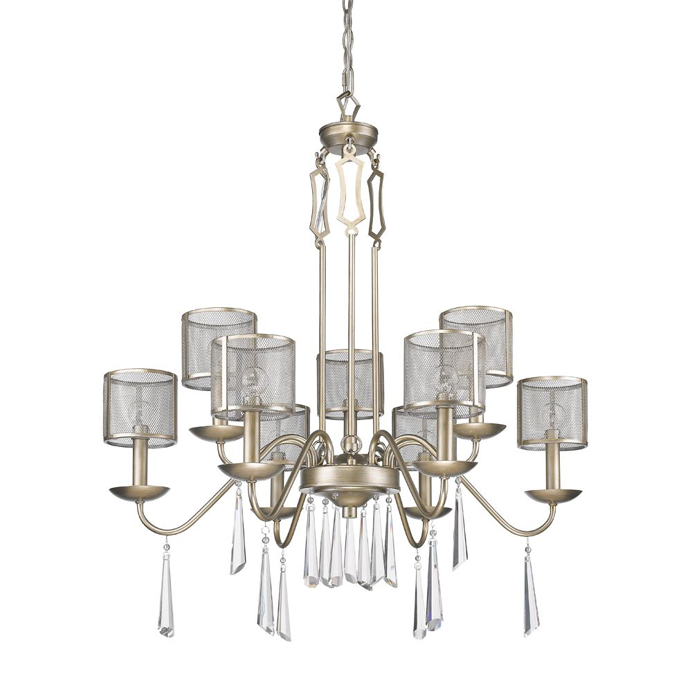 Acclaim Rita 9-Light Chandelier with Mesh Shades and K9 Crystals In Washed Gold
