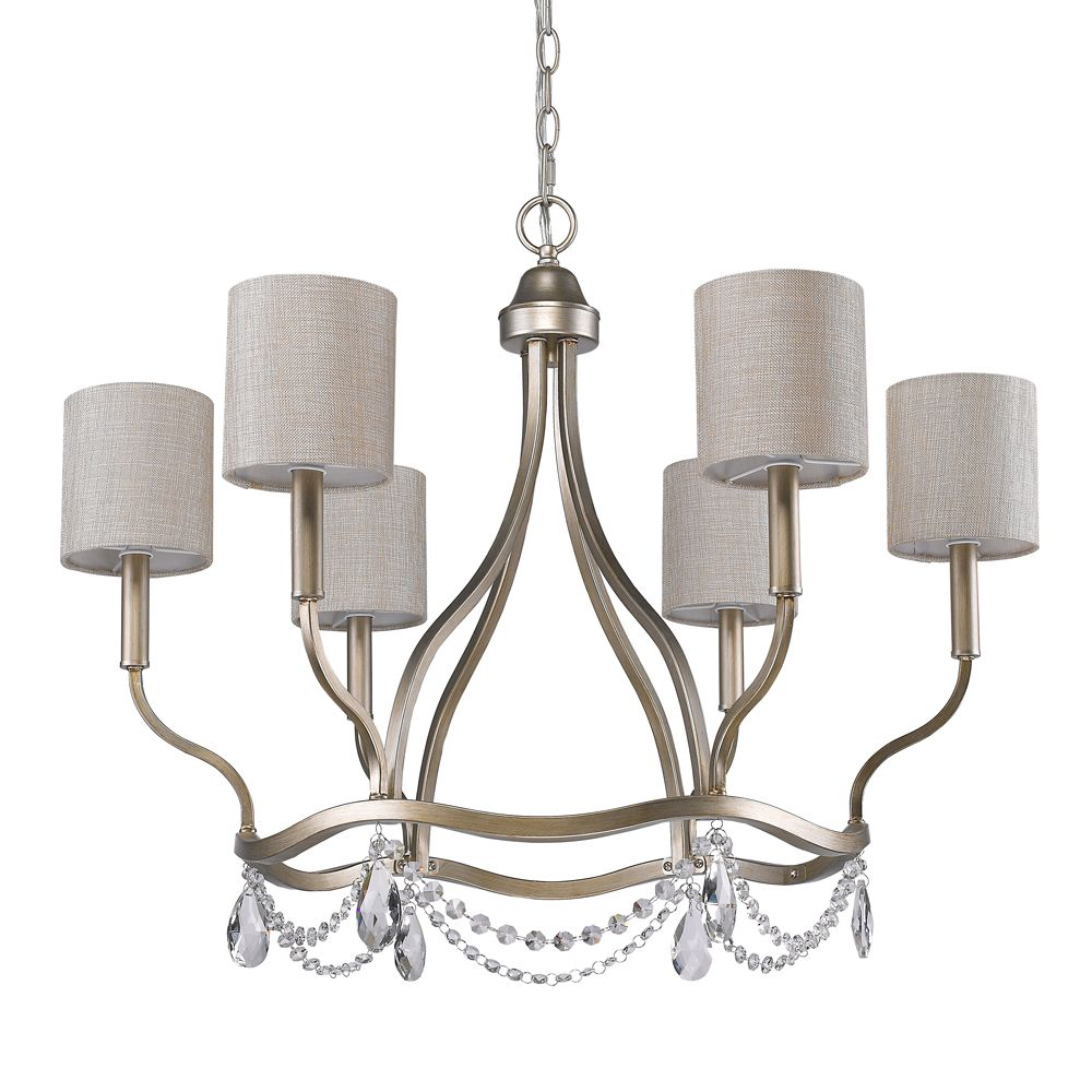 Acclaim Margaret 6-Light Chandelier with Fabric Shades & K9 Crystals In Washed Gold