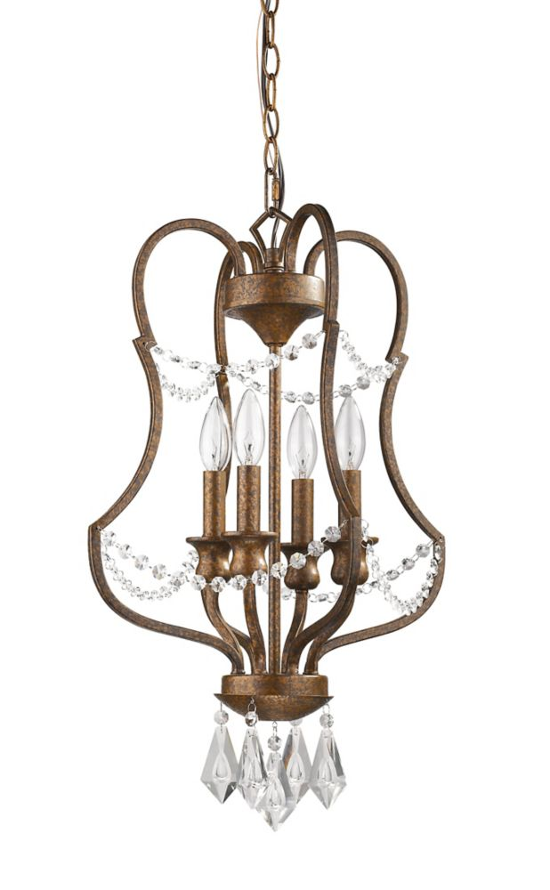 Acclaim Gianna 4-Light Chandelier with K9 Crystal pendants and beads In Russet finish.