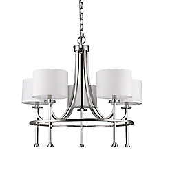 Acclaim Kara 5-Light Chandelier with Shades & K9 Crystal Bobeches In Polished Nickel