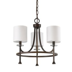 Acclaim Kara 3-Light Chandelier with Shades & K9 Crystal Bobeches In Oil Rubbed Bronze