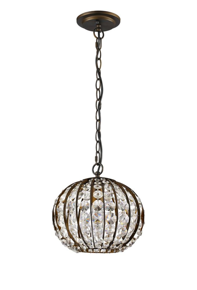 Acclaim Olivia 1-Light Pendant with Crystals In Oil Rubbed Bronze