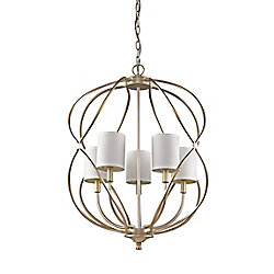 Acclaim Sharon 5-Light Chandelier with fabric Shades In Antique Silver