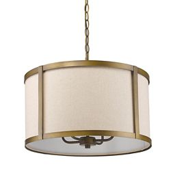 Acclaim Jessica 4-Light drum Pendant with Fabric Shade In Raw Brass