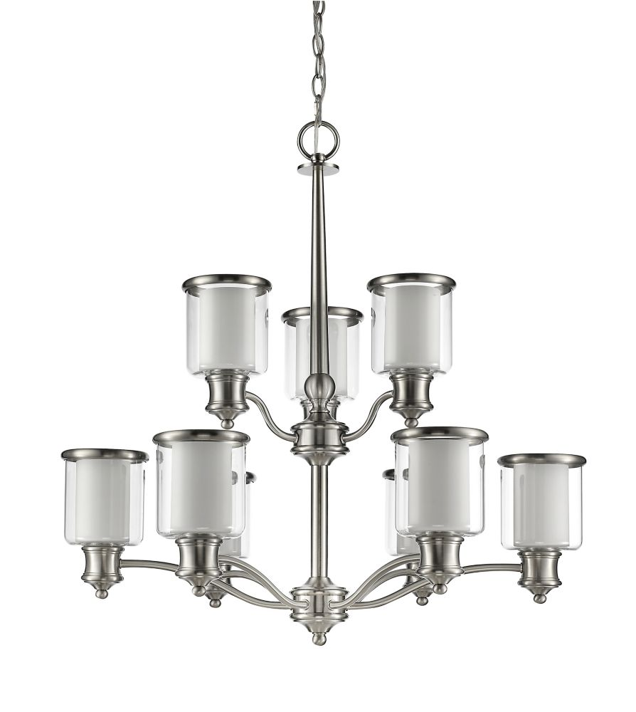 Acclaim Giuliana 9-Light Chandelier with dual Glass Shades In Satin Nickel